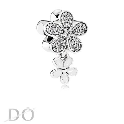 Achat Pandora Nature Breloques Dazzling Daisy Duo Blanc Email Clear Cz pandorabijoux.fr