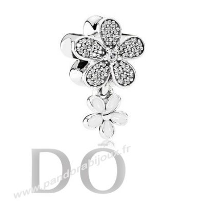 Achat Pandora Paillettes Paves Charms Dazzling Daisy Duo Blanc Email Clear Cz pandorabijoux.fr