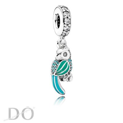 Achat Pandora Animaux Charms Tropical Perroquet Dangle Charm Mixed Enamel Teal Clear Cz pandorabijoux.fr