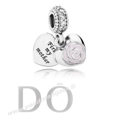 Achat Dangle Breloques Rose Dangle Rose Email Clear Cz pandorabijoux.fr