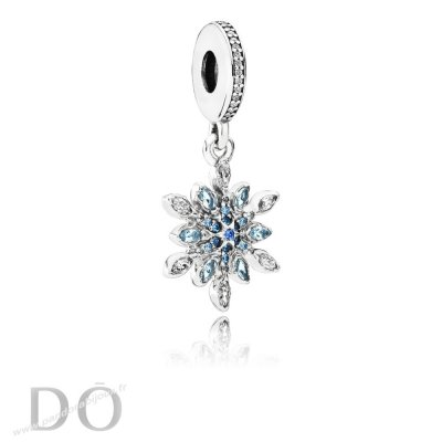 Achat Pandora Nature Charms Crystalized Snowflake Dangle Charm Blue Crystals Clear Cz pandorabijoux.fr